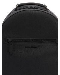 Ferragamo Black Rubberized Leather Backpack for men