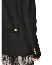 Balmain | Black Double Breasted Wool Cloth Coat for Men | Lyst
