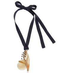 Marni - Blue Petals Horn & Crystals Pendant Necklace - Lyst