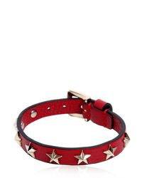 RED Valentino - Red Leather Bracelet W/ Star Studs - Lyst
