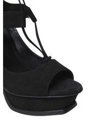 Saint Laurent - Black 135mm Tribute Suede Platform Sandals - Lyst