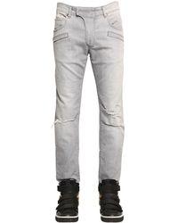 Balmain - Gray Distressed Biker Jeans  for Men - Lyst