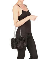 Paco Rabanne - Black Iconic Knitted Mink Shoulder Bag - Lyst