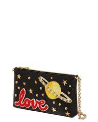 Dolce & Gabbana | Black Love Studded Leather Clutch | Lyst