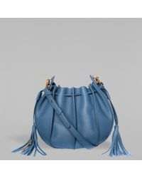 Mackage - Blue Kase-m Leather And Suede Mini Crossbody Bucket Bag - Lyst