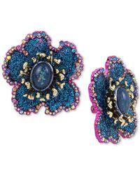 Betsey Johnson - Blue Two-tone Multi-stone & Glitter Flower Clip-on Stud Earrings - Lyst