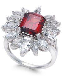 Macy's - Metallic Rhodolite Garnet (3-1/2 Ct. T.w.) & White Topaz (3-5/8 Ct. T.w.) Ring In Sterling Silver - Lyst
