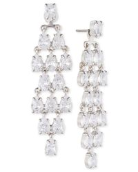 Carolee - White Silver-tone Cubic Zirconia Jacket Earrings - Lyst