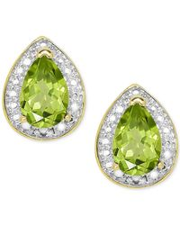 Macy's | Metallic Peridot (9/10 Ct. T.w.) And Diamond Accent Stud Earrings In 18k Gold-plated Sterling Silver | Lyst