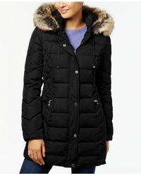 Laundry by Shelli Segal - Black Quilted Faux-fur-trimmed Puffer Coat - Lyst