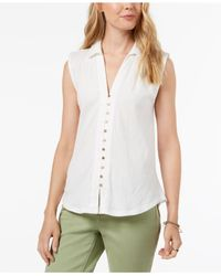 Lucky Brand - White Button-down Sleeveless Shirt - Lyst