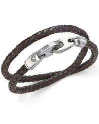Macy's - Black Men's Woven Leather Wrap Bracelet In Stainless Steel for Men - Lyst