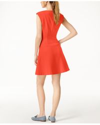 Maison Jules - Red Cap-sleeve Fit & Flare Scuba Dress, Created For Macy's - Lyst