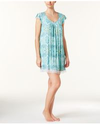 Ellen Tracy - Blue Mesh-trimmed Printed Knit Nightgown - Lyst