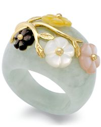 Macy's - Green 14k Gold Over Sterling Silver Ring, Jade Or Onyx And Multicolored Mother Of Pearl Flower Ring - Lyst