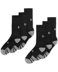 Under Armour | Black Men's Resistor Ii Crew Socks 6-pack for Men | Lyst