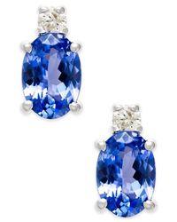 Macy's - Metallic Tanzanite (2 Ct. T.w.) And Diamond (1/10 Ct. T.w.) Pendant Necklace In 14k White Gold - Lyst
