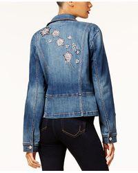INC International Concepts - Blue Embellished Denim Moto Jacket - Lyst