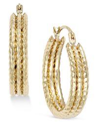 Macy's - Yellow Textured Triple Hoop Earrings In 10k Gold - Lyst