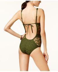 Becca - Black Crochet Deep-v One-piece Swimsuit - Lyst