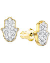 Swarovski - Metallic Gold-tone Crystal Hamsa Hand Stud Earrings - Lyst