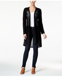 Style & Co. | Black Pointelle Duster Cardigan | Lyst