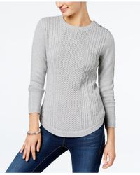 Charter Club | Gray Button-shoulder Pullover Sweater, Created For Macy's | Lyst