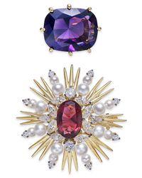 Danori - Gold-tone 2-pc. Set Purple Stone & Floral Pins - Lyst