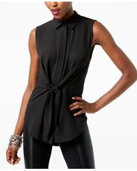 INC International Concepts - Black Tie-front Collared Shirt - Lyst