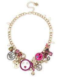 Betsey Johnson | Pink Multi-tone Multicolor Crystal & Imitation Pearl Large Charm Statement Necklace | Lyst