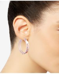 Guess - Multicolor Crystal Logo Hoop Earrings - Lyst