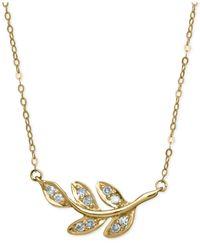 Macy's - Metallic Diamond Leaf Pendant Necklace (1/10 Ct. T.w.) In 10k Gold - Lyst