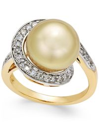 Macy's - Metallic Cultured Golden South Sea Pearl (11mm) And Diamond (3/8 Ct. T.w.) Swirl Ring In 14k Gold - Lyst