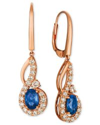 Le Vian - Metallic Strawberry & Nudetm Blueberry Sapphire (1-1/10 Ct. T.w.) & Diamond (5/8 Ct. T.w.) Drop Earrings In 14k Rose Gold - Lyst