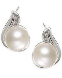 Macy's - 14k White Gold Cultured Freshwater Pearl (8mm) And Diamond Accent Earrings - Lyst