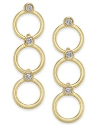 Kate Spade - Metallic 14k Gold-plated Crystal & Circle Triple Drop Earrings - Lyst