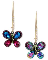 Betsey Johnson - Metallic Gold-tone Crystal Butterfly Mismatch Earrings - Lyst