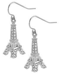 Betsey Johnson | Multicolor Silver-tone Crystal Eiffel Tower Drop Earrings | Lyst