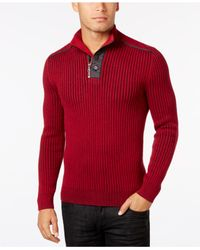 INC International Concepts - Red Men's Quarter-zip & Button Ribbed Sweater, Only At Macy's for Men - Lyst