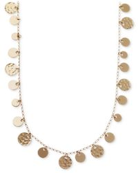 Nine West | Metallic Gold-tone Hammered Disc Strand Necklace | Lyst