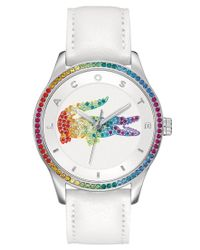 Lacoste | Metallic Watch, Women's Victoria White Leather Strap 40mm 2000822 | Lyst