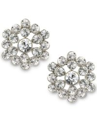 2028 | Metallic Silver-tone Crystal Cluster Button Earrings | Lyst
