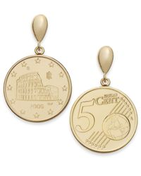Macy's | Metallic Vermeil Engraved Euro Coin Drop Earrings | Lyst