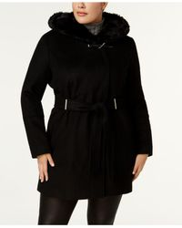 CALVIN KLEIN 205W39NYC - Black Plus Size Faux-fur-collar Belted Hardware Coat - Lyst