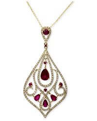 Effy Collection - Metallic Gemma By Effy Ruby (2-1/8 Ct. T.w.) And Diamond (3/4 Ct. T.w.) Drop Pendant In 14k Gold - Lyst