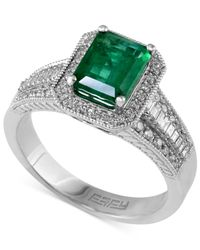 Effy Collection | Metallic Emerald (1-3/8 Ct. T.w.) And Diamond (3/8 Ct. T.w.) Emerald-cut Ring In 14k White Gold | Lyst