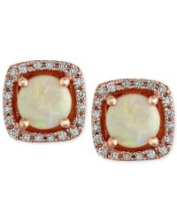 Effy Collection   Multicolor Gemma By Effy Opal (3/4 Ct. T.w.) And Diamond (1/8 Ct. T.w.) Stud Earrings In 14k Rose Gold   Lyst
