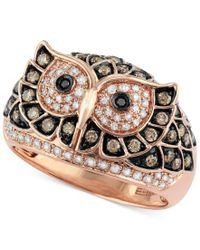 Effy Collection | Multicolor Confetti By Effy White And Brown Diamond Owl Ring (3/4 Ct. T.w.) In 14k Rose Gold | Lyst