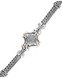 Effy Collection | Metallic Balissima By Effy Diamond Accent Curve Detail Bracelet In Sterling Silver And 18k Gold | Lyst