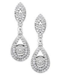 Wrapped in Love   Diamond Dangling Drop Earrings In 14k White Gold (1 Ct. T.w.)   Lyst